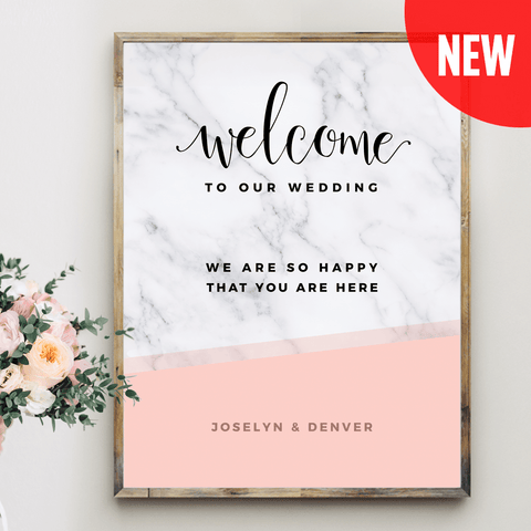 MarbleKlass - Blush Personalized Wedding Print