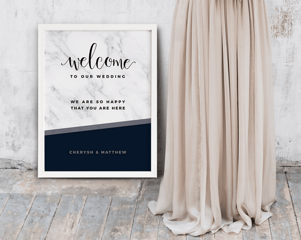 MarbleKlass - Midnight Personalized Wedding Print next to a bride in blush dress