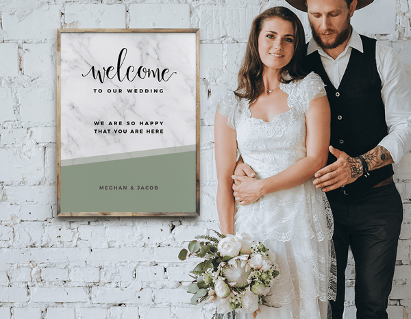 MarbleKlass - Olive Personalized Wedding Print photographed with the young couple