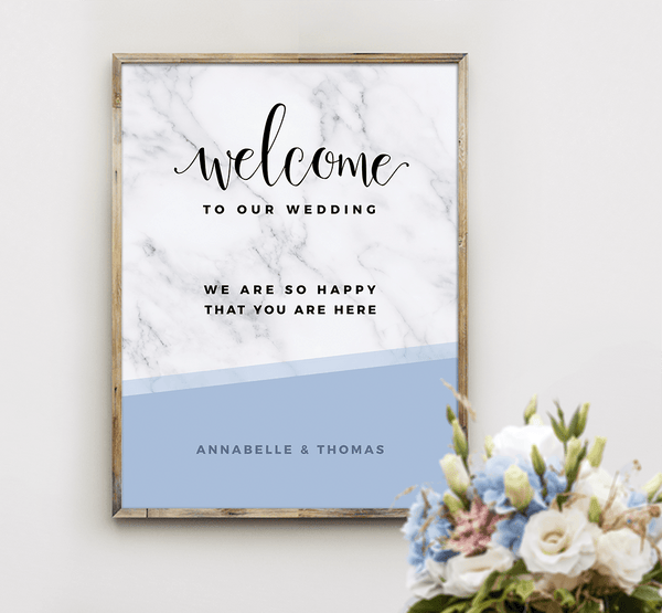 MarbleKlass - Sky Personalized Wedding Print next to a baby blue wedding bouquet