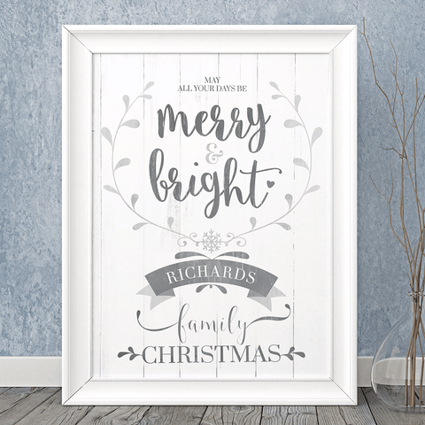 Merry & Bright personalized print
