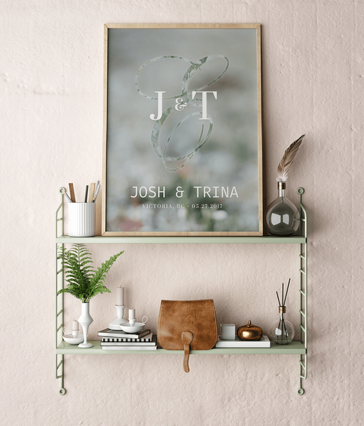 Meadow personalized print framed in a chic, modern room