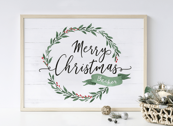 Personalized print displaying a Merry Christmas message and the family name