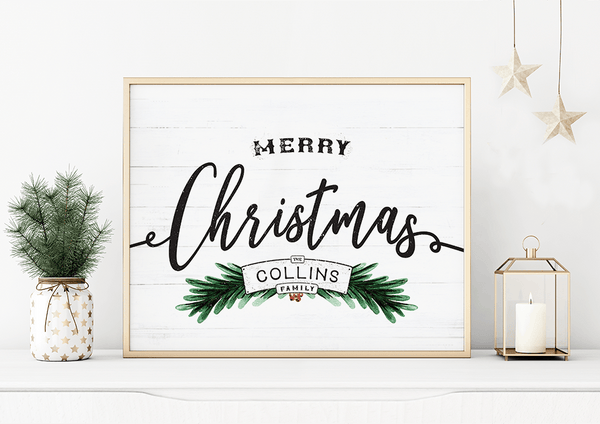 Merry Christmas personalized print in a white decor home