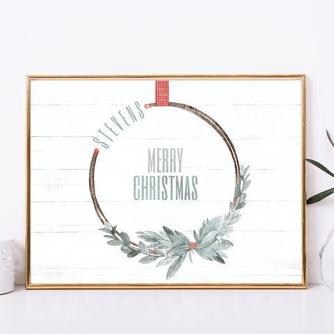 Merry Wreath Personalized Print