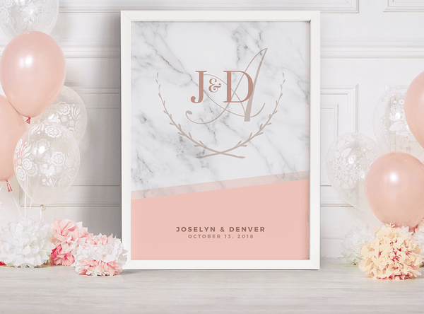 MK Blush Wedding Personalized Print in white frame at a wedding with blush pink balloons