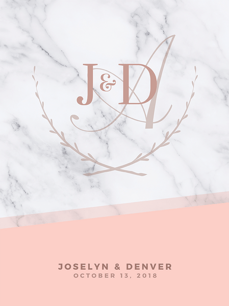 Close up look at the MK Blush Wedding Personalized Print