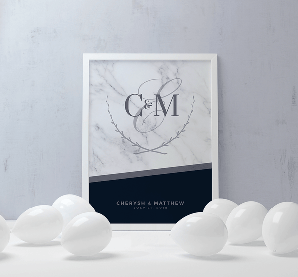 MK Midnight Wedding Personalized Print at a wedding reception with white balloons