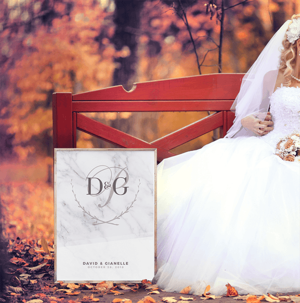 MK White Wedding Personalized Print at a fall wedding with a young couple on the bench in the park