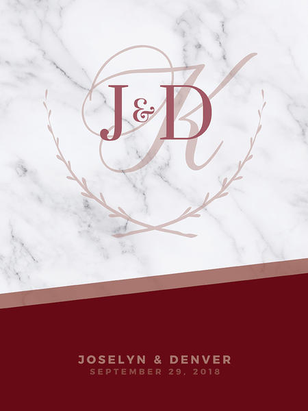 close up look at the MK Wine Wedding Personalized Print