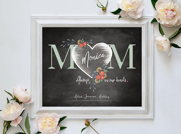 Framed Mom Heart Personalized Print among mother's day flowers