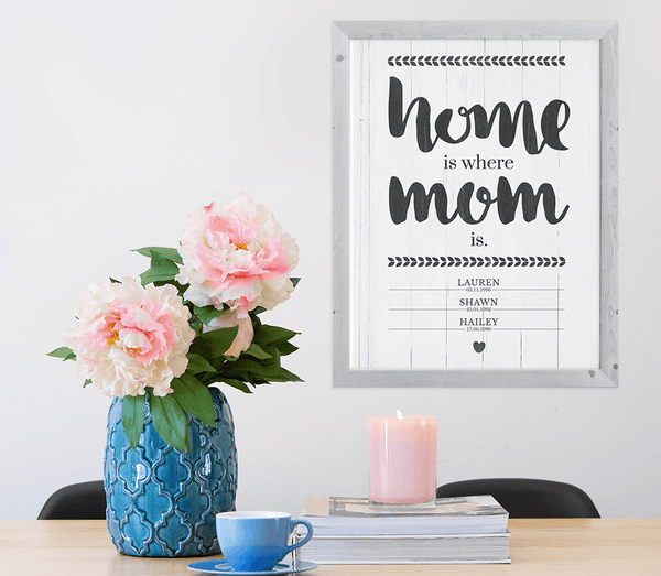 beautiful room with flowers and a framed Home Is Where Mom Is personalized print on the wall