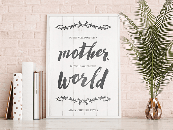 You Are The World personalized print framed and displayed in a feminine contemporary room