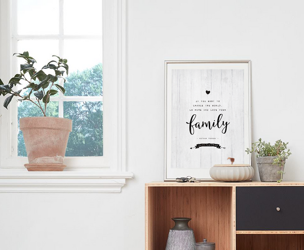 Modern room with Love Your Family personalized print