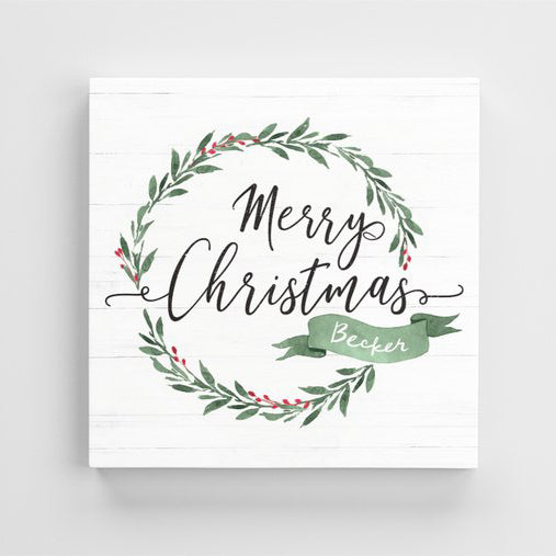 Merry Christmas Personalized Canvas Print front view