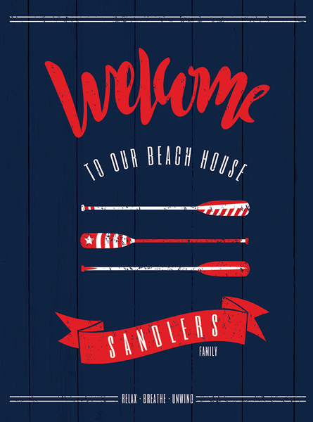 Close up of the nautical/coastal Welcome print