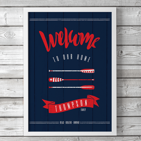 "Nautical Welcome sign with white and red design on navy. Personalize with your family name and reads ""Welcome to our home"""