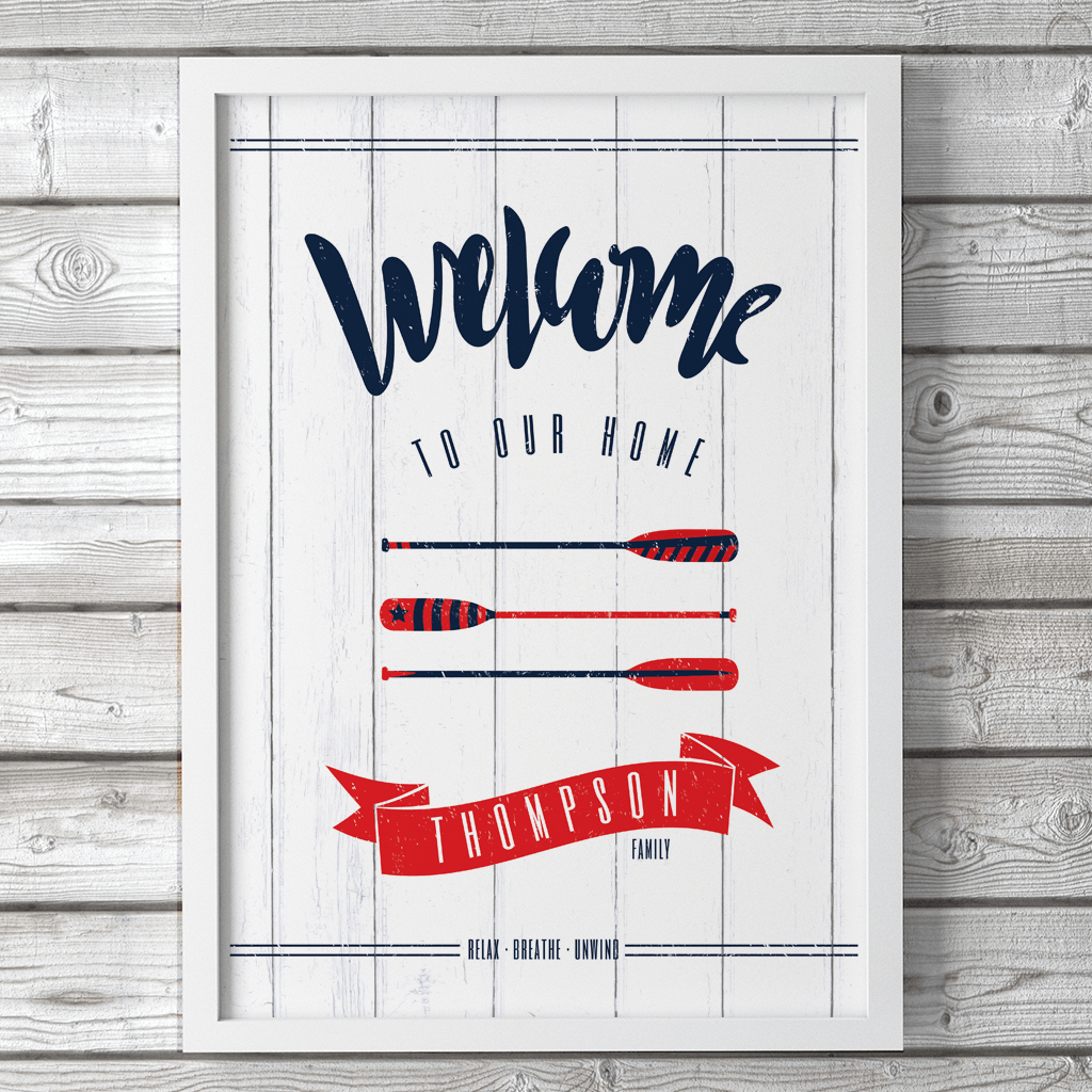 Coastal living design - welcome sign in navy, red and white with oars and your family name set in a red banner.