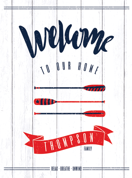 Close up of a welcome to our home personalized print