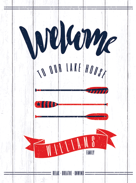 closer preview of the Welcome to our lake house poster