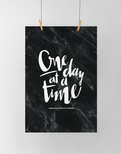 One Day At A Time Personalized Print in black marble