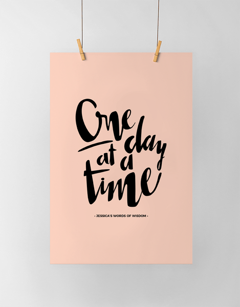 One Day At A Time Personalized Print in black and blush
