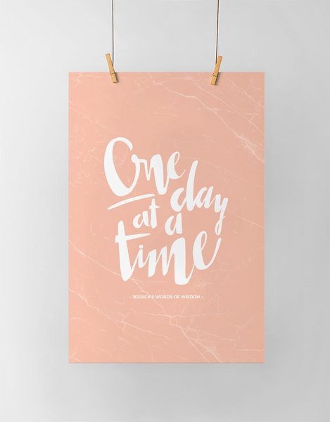 One Day At A Time Personalized Print in blush marble