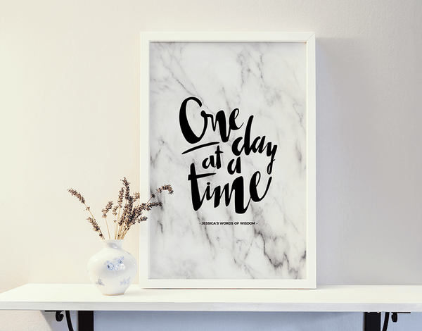 One Day At A Time Personalized Print in a white frame on a shelf