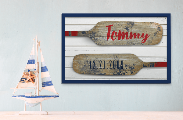 shelf in a rustic children's room with nautical theme and Paddles print on the wall