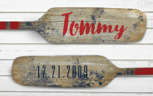 Close up of Paddles print. Personalize it with your child's name on one paddle and his or her birthdate on the second one!