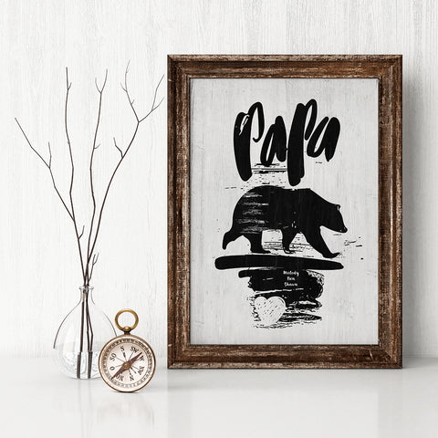 Rustic room with a framed personalized Papa Bear print
