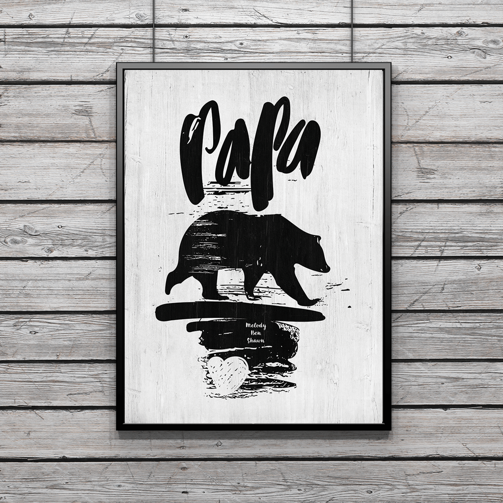"brushed lettering ""papa"" and brushed image of ""bear"". Personalize it with names below."