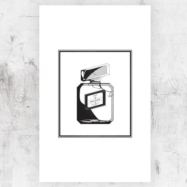 Black and white drawing of a perfume bottle with personalization on the cap and label!
