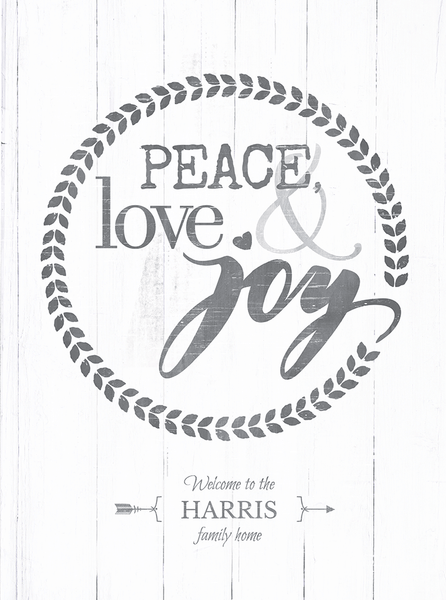 close up preview of the Peace, Love & Joy personalized print