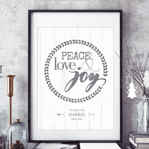 Rustic, holiday themed personalized print with words Peace, love & joy. Add your family name to this print and display in your decor for the holidays!