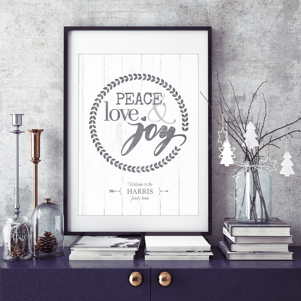 Holiday themed vignette with framed print Peace, Love & Joy
