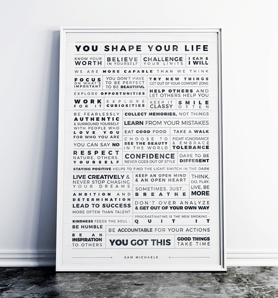 Manifesto Grid Personalized Print framed in a white modern frame