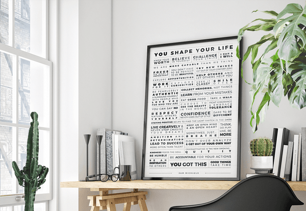 Manifesto Grid Personalized Print in a modern boho workspace