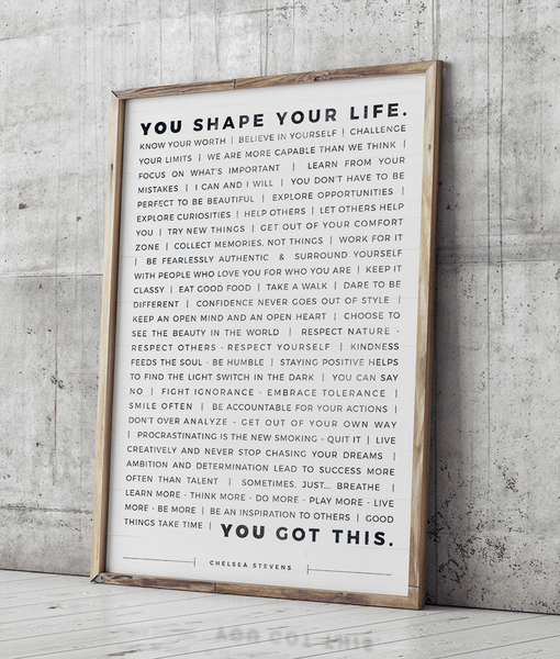 Manifesto Personalized Print framed in a reclaimed wood frame