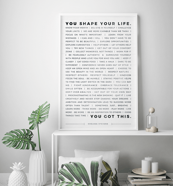 Manifesto Personalized Print in a modern white decor room