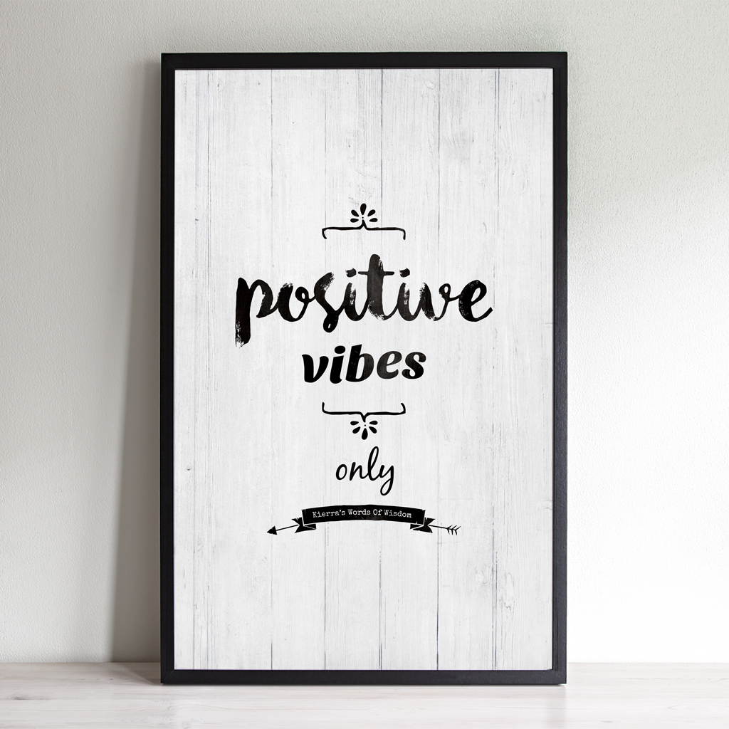 Positive Vibes Only inspirational / yoga personalized print