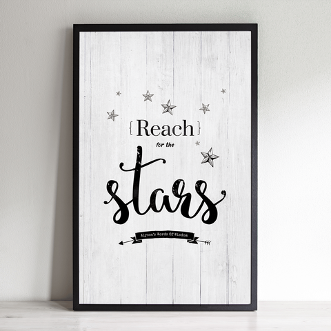 Reach For The Stars inspirational personalized print