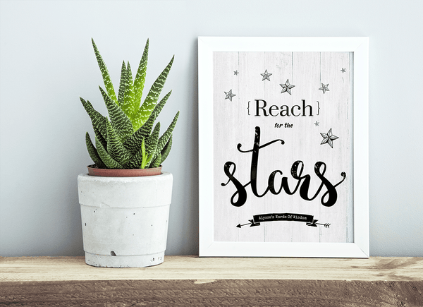 rustic room with a framed Reach For The Stars print on the shelf
