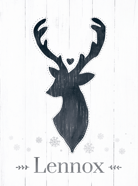 preview of the Reindeer personalized print. A drawing of a reindeer with a heart personalized with the family name.