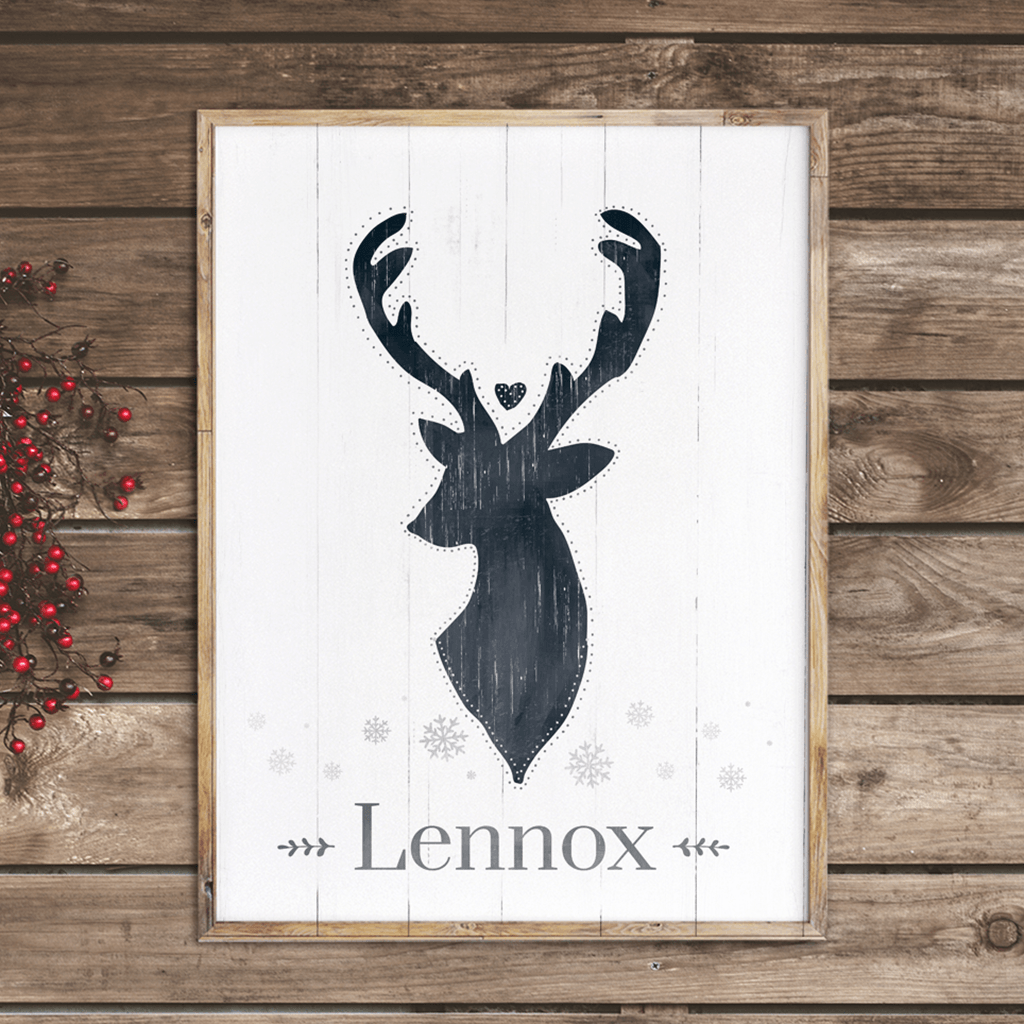 Reindeer personalized print - perfect for rustic and nordic home decor
