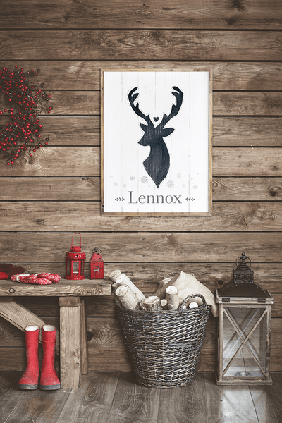 Nordic, vintage entry with a framed Reindeer personalized print