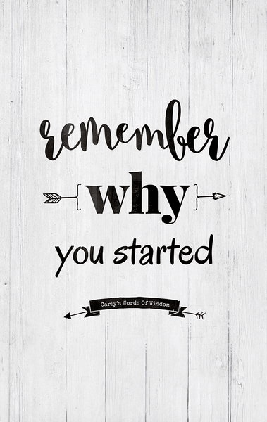 Close up view of the Remember Why You Started print