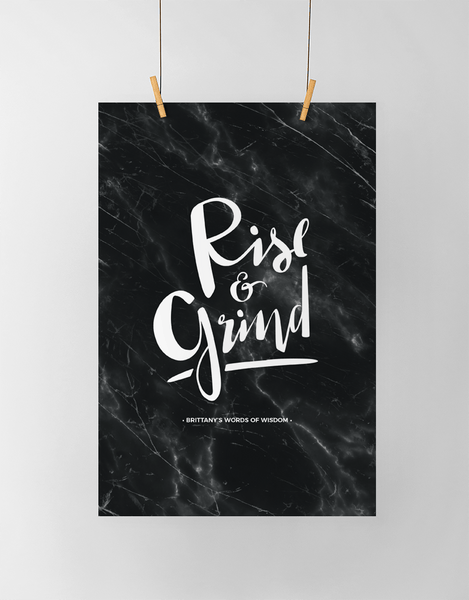 Rise & Grind Personalized Print on black marble background