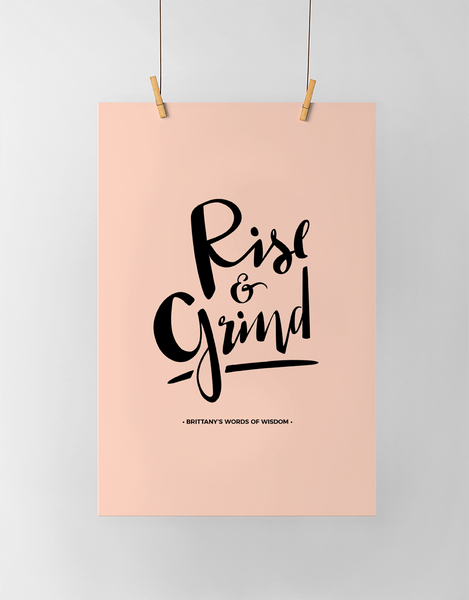Rise & Grind Personalized Print in black and blush