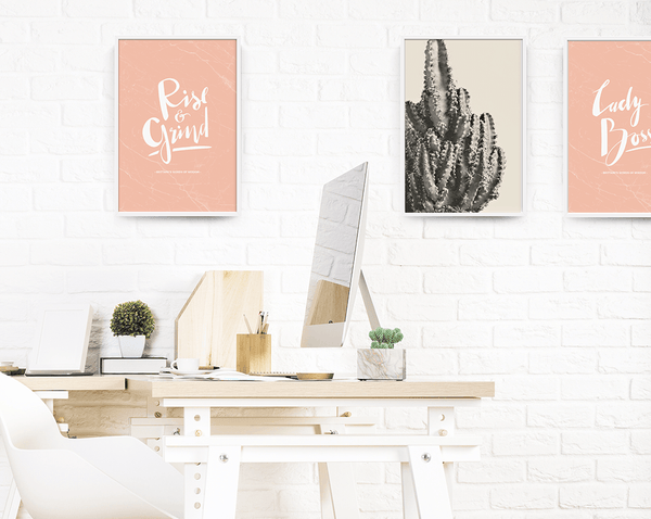 blush workspace decor with Rise & Grind personalized print in blush marble
